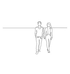 Continuous one line drawing walking couple man vector