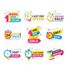 Countdown badges set one hour day sale 1 week vector