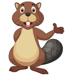 Cute beaver cartoon waving hand vector image