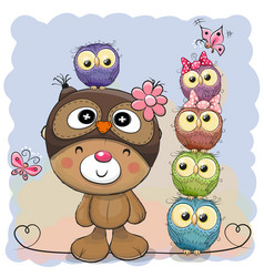 Cute cartoon teddy bear and five owls vector