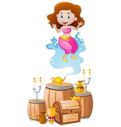 Cute genie coming out of lamp vector