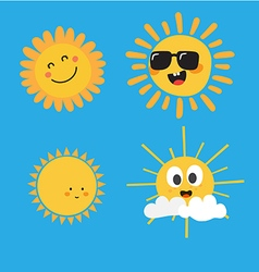 Cute Sun Characters vector image