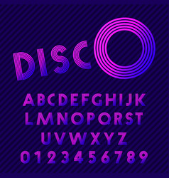 Disco style alphabet retro nightclub font set of vector