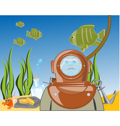diver on day of the ocean vector image