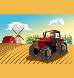 Farmer riding a tractor vector
