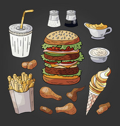 fast food on black background hand drawn fast vector image