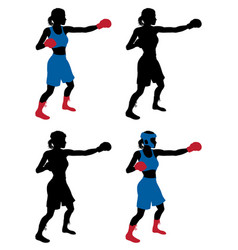 Female boxer boxing vector