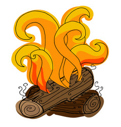 fire hand drawn colored bonfire vector image
