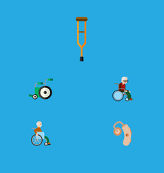flat icon cripple set of equipment handicapped vector image