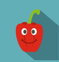Fresh red smiling sweet pepper icon flat style vector