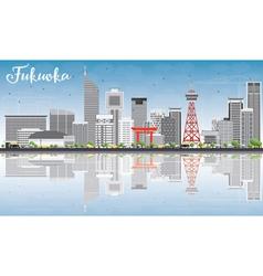 Fukuoka Skyline with Gray Landmarks vector image