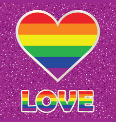 gay pride poster with rainbow spectrum heart vector image