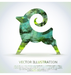 Geometric green shape of the Goat vector image