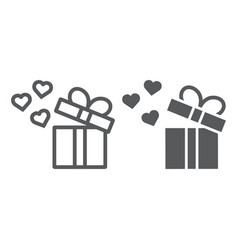 gift line and glyph icon love and package gift vector image