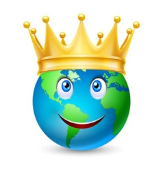 Golden crown on the globe vector