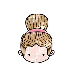 Grated girl head with bun hair design vector