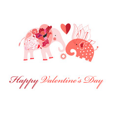 greeting card in love with elephants vector image