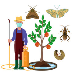 Grower in mask with sprayer and garden pests vector