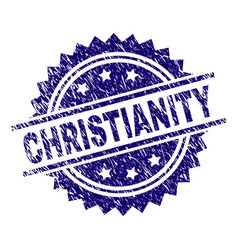 Grunge textured christianity stamp seal vector