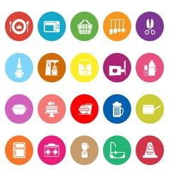 Home kitchen flat icons on white background vector