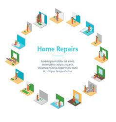 home repair worker people 3d banner card circle vector image