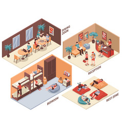 Hostel rooms isometric set vector
