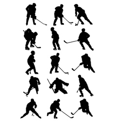 Ice hockey players silhouettes set vector