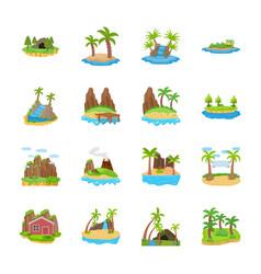 Island scenes icons vector