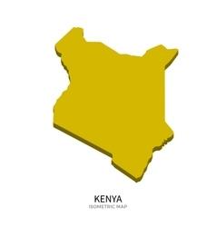 Isometric map of Kenya detailed vector image
