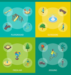 kid playground elements banner 3d set isometric vector image