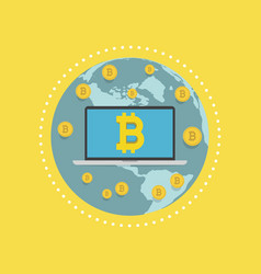 Laptop screen with the bitcoin sign on globe vector