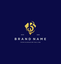 Letter b diamond gold logo design vector