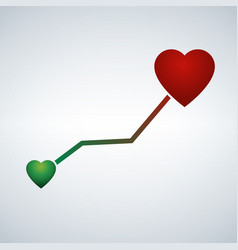 life line with heart shape from small green to vector image