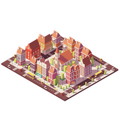 Low poly isometric old city center vector