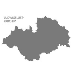 ludwigslust-parchim grey county map of vector image
