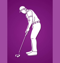 man swinging golf golf players action cartoon vector image