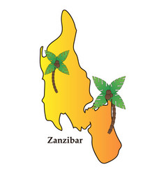 map of zanzibar with palms vector image