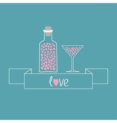 Martini glass and bottle with hearts inside Ribbon vector image