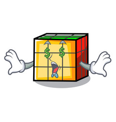 Money eye rubik cube mascot cartoon vector