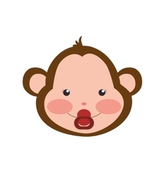 Monkey cute animal little icon graphic vector