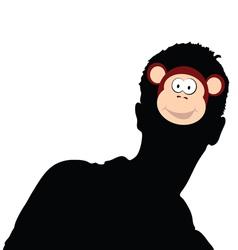 Monkey head on man head vector