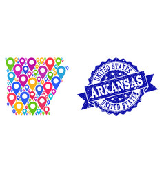 Mosaic map of arkansas state with map pins and vector