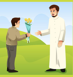muslim son giving flower to his father vector image