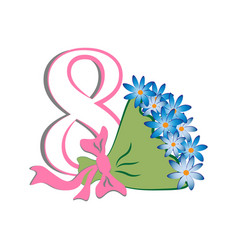 number eight with a bouquet vector image