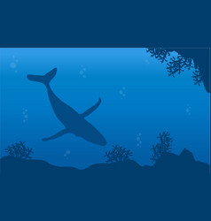 On blue sea with whale landscape silhouettes vector
