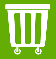 outdoor plastic trash can icon green vector image