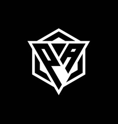 Pa logo monogram with triangle and hexagon shape vector