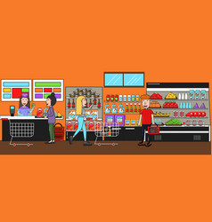 people in supermarket interior design vector image