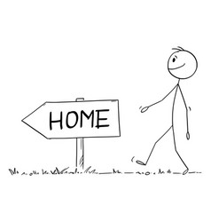 person walking on path or way home cartoon vector image