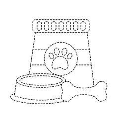 pet food and bowl bone animal vector image
